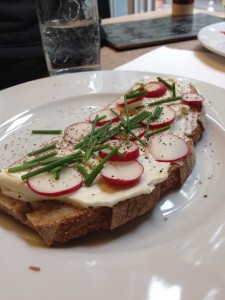 radishes, farmers cheese, chives and toast